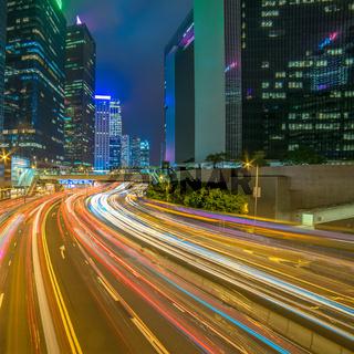 Modern city at night, Hong Kong, China