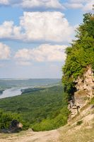 Cliff near the Dniester river, landscape of Moldova
