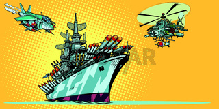 military aircraft carrier with fighter jets and helicopters