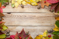 Autumn Leaves And Acorns On Wood Background