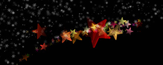 Wonderful christmas panorama design illustration with snowflakes and stars