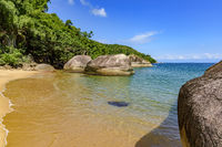 Paradise beach, totally preserved and deserted with tropical rainforest