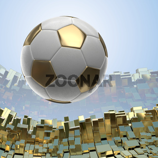 Soccer-balls isolated on golden architectural background 3d illustration