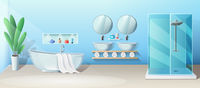 Modern bathroom interior with bath and shower stall, vector banner