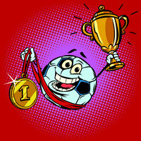 Winner champion Cup first place gold medal. Character soccer bal