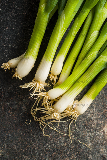 Green spring onions.