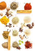 Top view of herbs and spices, art of food