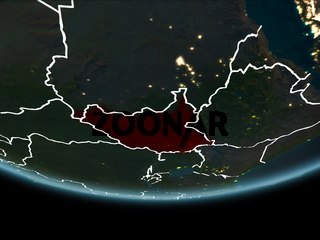 South Sudan on Earth from space at night