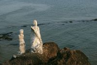 Dona Paula Statue at Dona Paula, Goa, India. Famous area frequented by tourists specially at sunset.