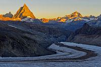 Morgensonne am Matterhorn, Zermatt, Wallis, Schweiz