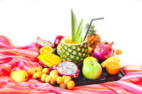 Exotic fruits on the tray