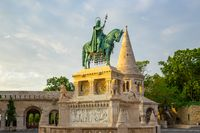 A bronze statue of Stephen of Hungary in Budapest city, Hungary