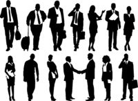 business people illustration, men and women vector set -