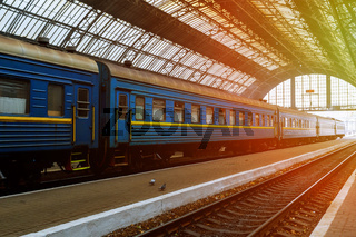Trains stand at the station at sunrise time Lviv Central Station