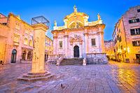 Orlando pillar from 1418 AD and saint Blasius Church in Dubrovnik