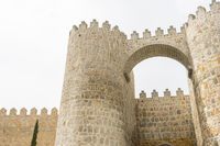 Walls of the city of Avila in Castilla y León, Spain. Fortified medieval city