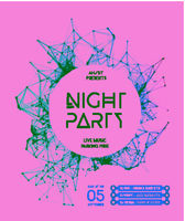 Night Disco Party Vector Poster Background. Modern design