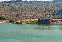 View of Temple 1, Bootnatha or Bhutanatha temple complex, and Agastya lake, Badami, Karnataka.