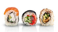 Various sushi rolls in a row