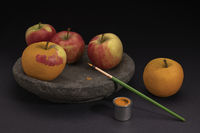 Surreal still life of fruit