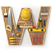 Letter W. Alphabet from the tools on the metal pegboard isolated on white.