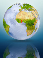 Ghana on globe