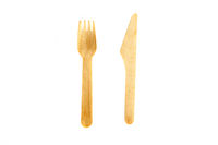 Wooden fork and knife on white background