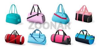 Realistic sport bags set for sportswear and equipment vector icons isolated