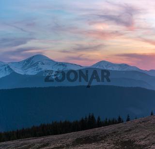 Sunset spring Carpathian mountains