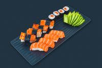 Japanese food set over a black background