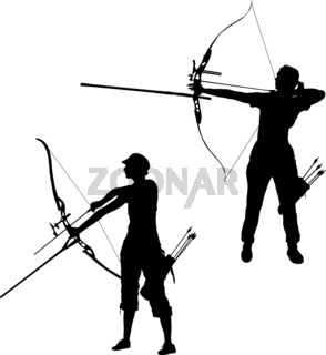 Set silhouette attractive female archer bending a bow and aiming in the target