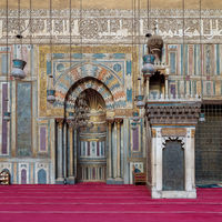 Engraved Mihrab (niche) and wooden Minbar (Platform) at the Mosque and Madrassa (School) of Sultan Hassan, Cairo, Egypt