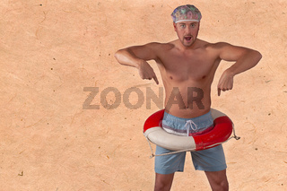 Porträt eines Hemdlosen Mannes , Studioaufnahme