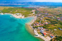 Aerial view of Zaton tourist waterfront and Velebit mountain background