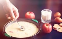 Preparation of apple pie at home. Homemade pastries with apples