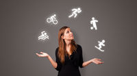 Person juggle with hobbies concept
