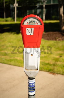 Fire Engine Red Downtown City Center Parking Meter