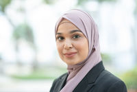 Muslim woman in business suit