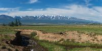 Panorama of Altai mountains with river