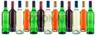 Weinflaschen Wein Flaschen bunt Gruppe Weine Hintergrund Rotwein Weißwein Rose freigestellt