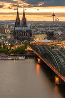 Cityscape of Cologne during sunset