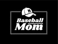 Baseball mom emblem with baseball lacing and a hat on black background. Vector