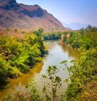 View of the Kwai river, Kanchanaburi, Thailand