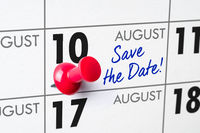 Wall calendar with a red pin - August 10