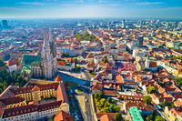 Zagreb cathedral and historic city center aerial view