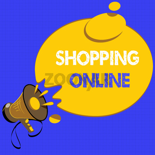 Handwriting text writing Shopping Online. Concept meaning buying you want through internet website then deliver it