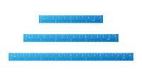 Set of bright blue school rulers with centimeter and inch marks on white
