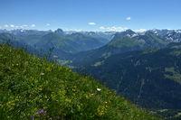 Bregenzerwald; Blick von der Kanisfluh zum Hochtannberg und den Allgäuer- und Lechtaler Alpen
