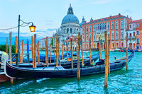 Grand Canal with gondolas in Venice