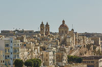 View of a coastal area and downtown of Valletta in Malta